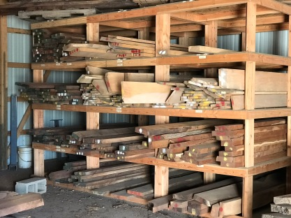 We stock a variety of kiln-dried 6-foot and 8-foot dimensional lumber, 4/4, 6/4 and 8/4. From left to right, black walnu, burr oak, silver maple, sycamore and osage orange/hedge.